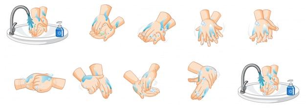 Различные шаги мытья рук на белом фоне Бесплатные векторы