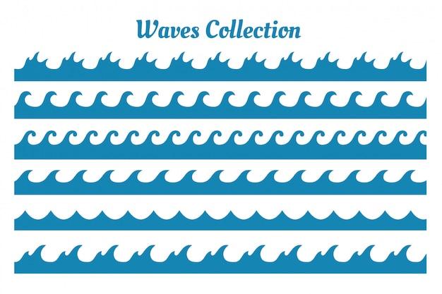 6 다른 스타일 바다 파도 패턴 세트 무료 벡터