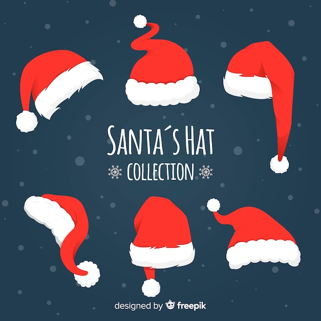 Different styles santa's hats pack Free Vector
