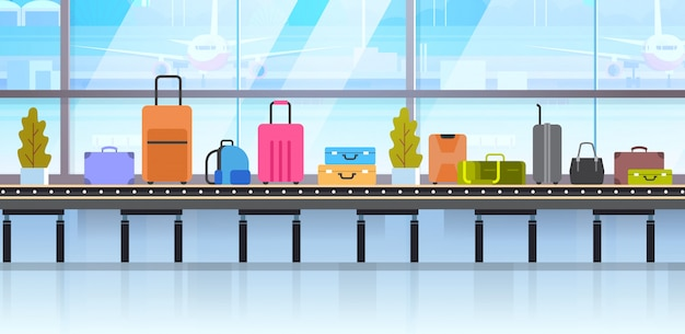 Different suitcases on baggage conveyor belt in airport Premium Vector