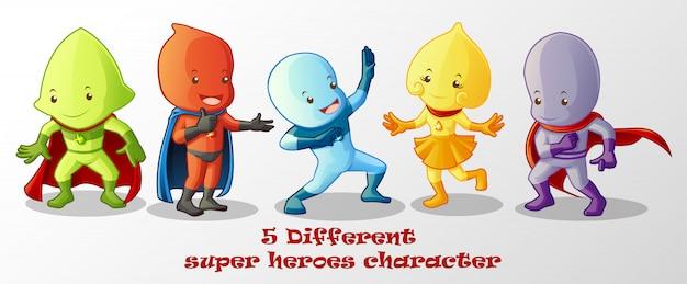 Different super heroes in cartoon style. Premium Vector