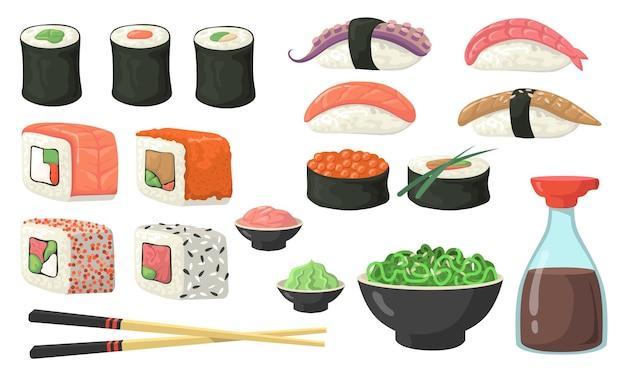 別の寿司、ロール、にぎりフラットセット 無料ベクター