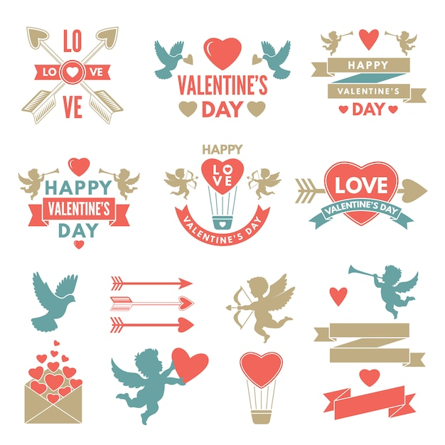 Different symbols and labels for day of st valentine Premium Vector
