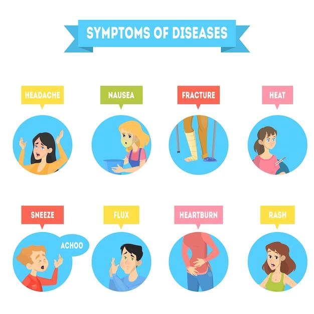 Различные симптомы заболевания. Premium векторы