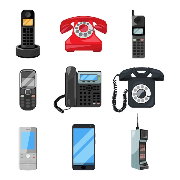 Different telephones and smartphones. Premium Vector