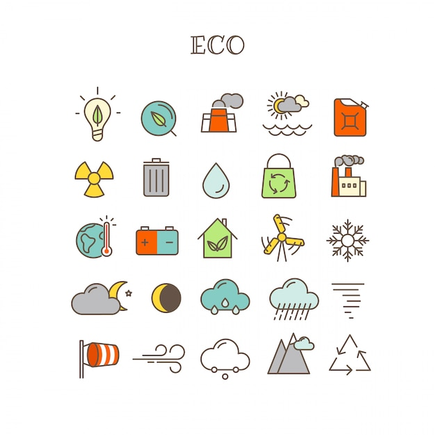 Different thin line color icons vector set. eco Premium Vector
