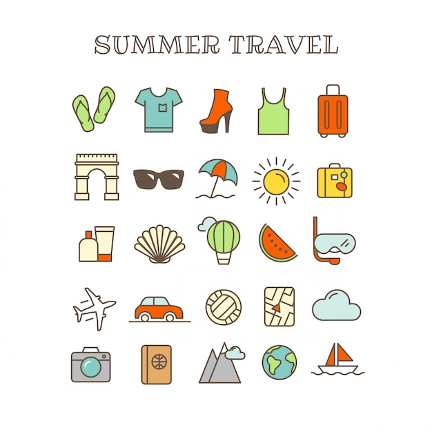 Different thin line color icons vector set. summer travel Premium Vector
