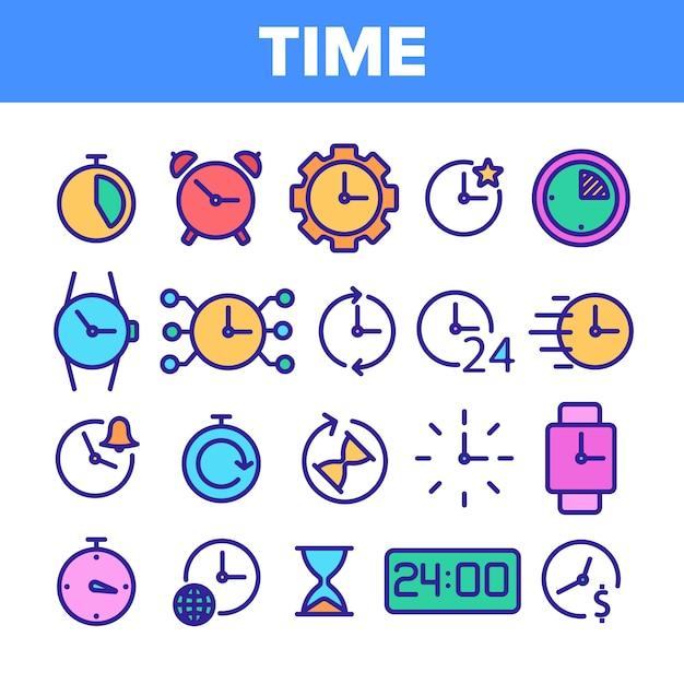 Different time clock vector icons set Premium Vector