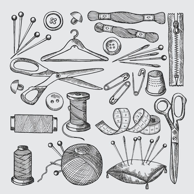 Different tools for sewing workshop. vector pictures in hand drawn style Premium Vector