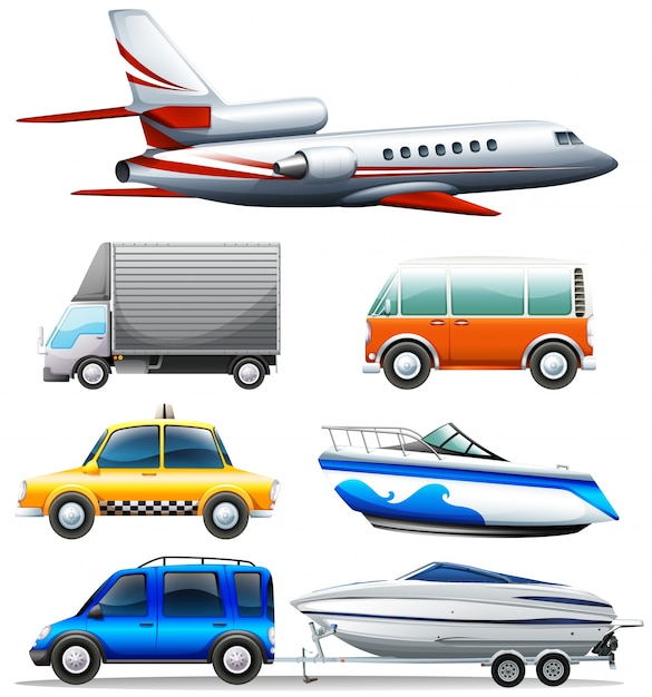 Different transportations on white background\ illustration