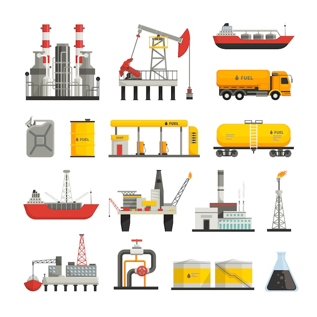 Different transports constructions and factories Free Vector