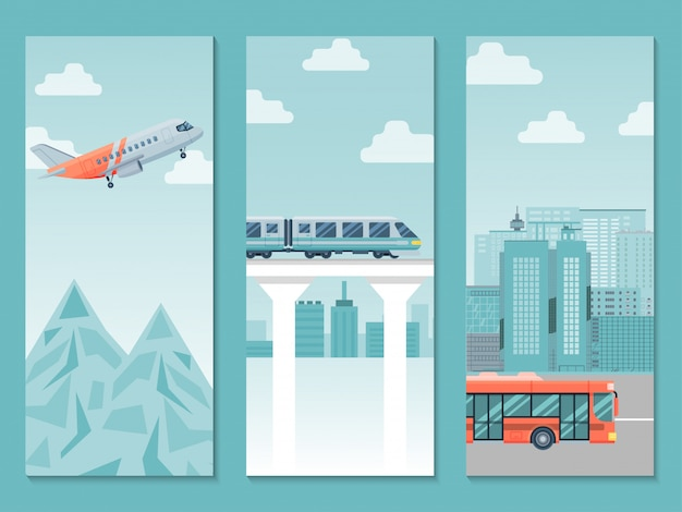 Different travel way business poster, country trip train, airplane and bus   illustration. people journey around world. Premium Vector