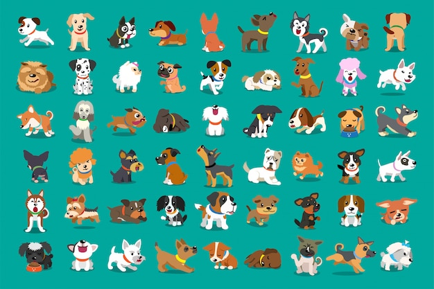 Different type of  cartoon dogs Premium Vector