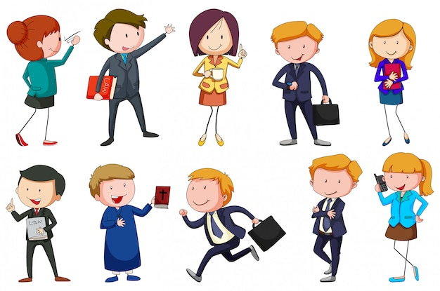 Different type of occupations Free Vector