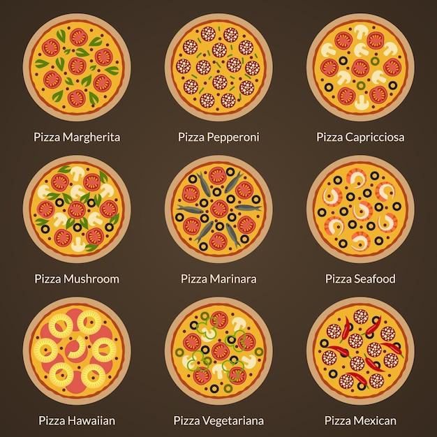 Набор различных типов плоских иконок пиццы. аппетитная пицца с разными начинками Premium векторы