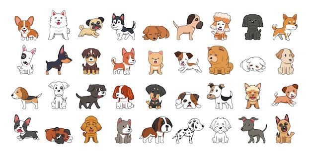 Различные типы векторных мультяшных собак Premium векторы