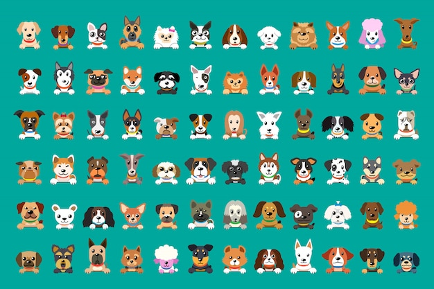 Different type of vector cartoon dog faces Premium Vector