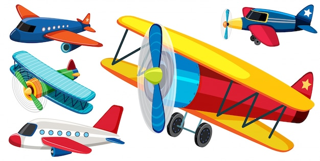 Different types of airplanes Premium Vector
