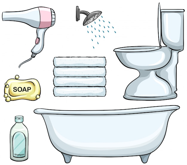 Different types of bathroom objects Free Vector