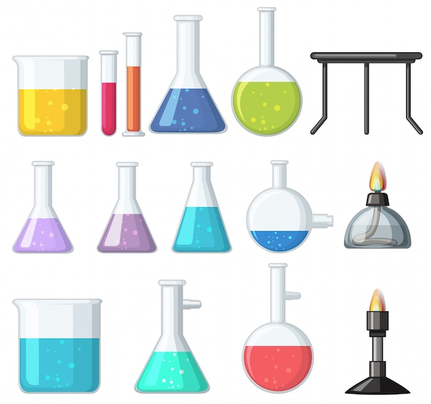 Different types of beakers and burners Premium Vector