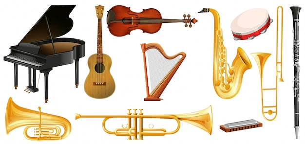 Different types of classical music instruments Free Vector