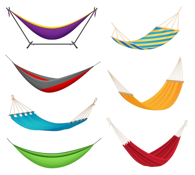 Different types colorful hanging fabric hammocks Free Vector