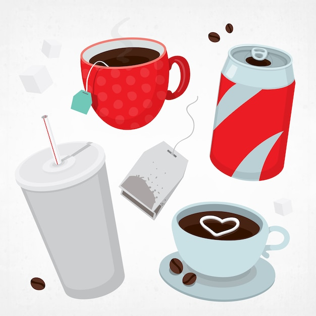 Different types of drinks set Premium Vector