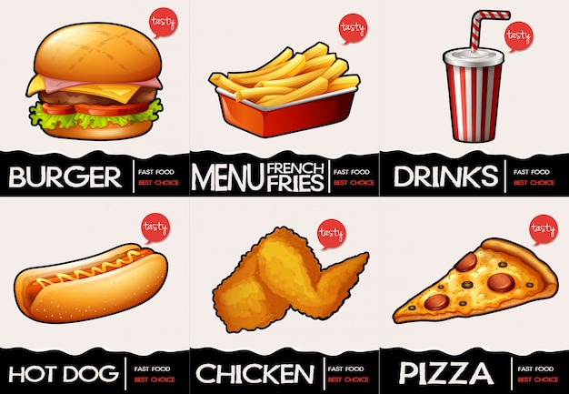 Different types of fastfood on menu Free Vector
