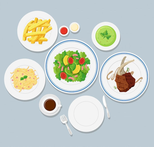Different types of food on blue background Free Vector