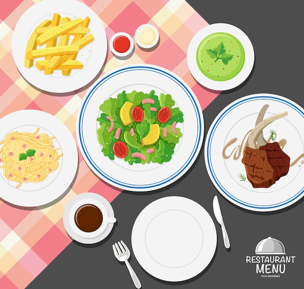 Different types of food on dining table Free Vector