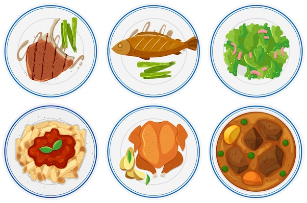 Different types of food on the plates illustration Free Vector