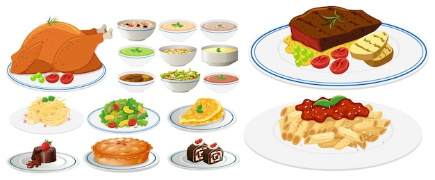 Different types of food on plates Premium Vector