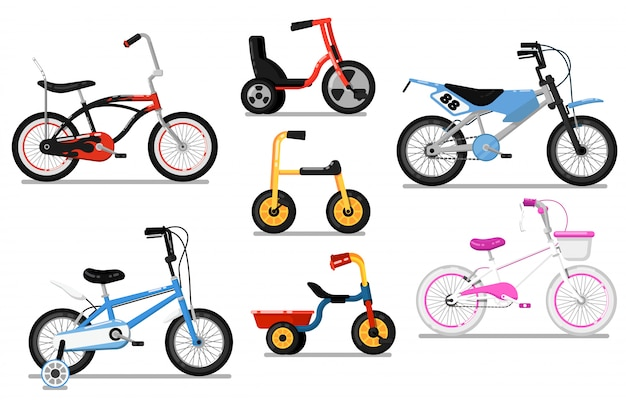 Different types kids bicycle isolated vector set Premium Vector