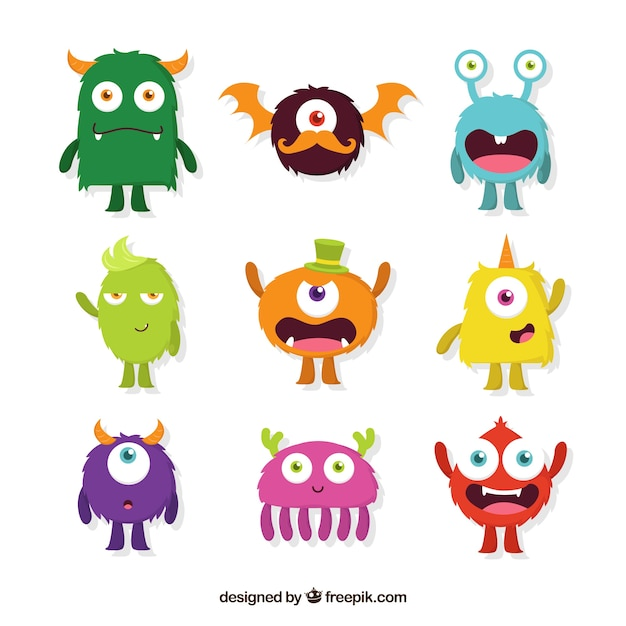 Different types of monster character designs Free Vector