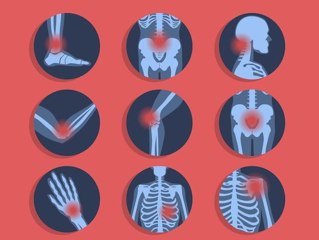 Разные виды боли. головная боль, боль в животе Premium векторы