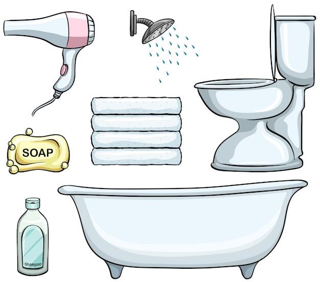 Различные типы объектов ванной комнаты Бесплатные векторы