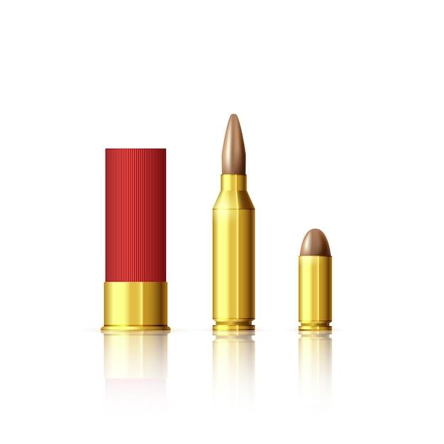 다양한 유형의 카트리지. 현실적인 총알과 카트리지. 그림 흰색 절연 프리미엄 벡터