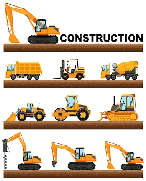 Different types of construction trucks on the\ ground