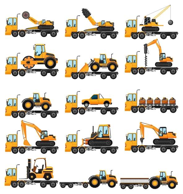 さまざまな種類の建設用トラック 無料ベクター