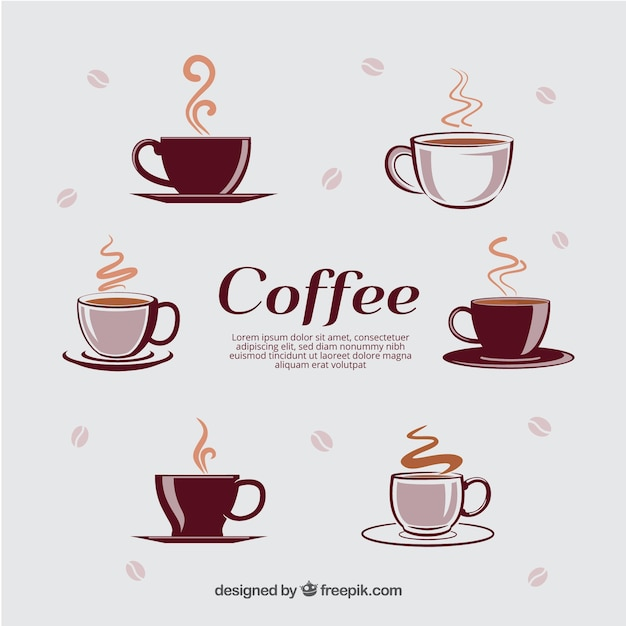 Different types of cups with hot coffee Free Vector