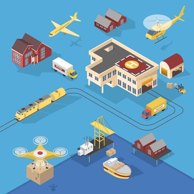 さまざまな種類の配達サービス。船とトラック、航空機と鉄道。ロジスティックの世界的なネットワーク。等角投影図 Premiumベクター