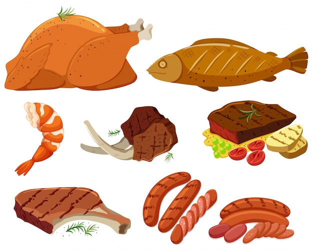 Different types of grilled meat illustration Vector ...