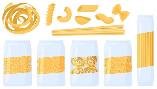 Различные виды макарон. макаронные изделия в упаковке, иллюстрация Premium векторы