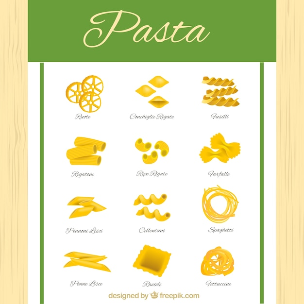 Different types of pasta Free Vector