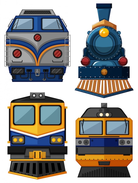Different types of trains illustration Vector | Free Download