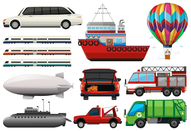 Different types of transportations\ illustration