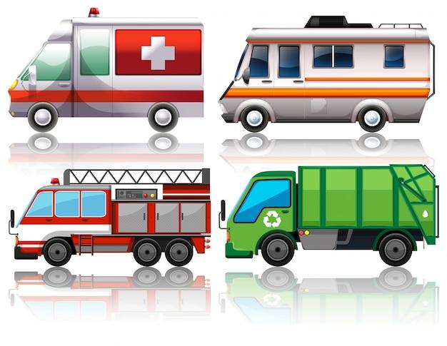 Different types of trucks illustration