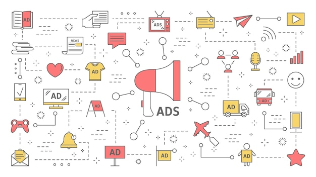Different types of product advertising concept. digital and outdoor ads. commercial advertisement in social media and communication with customer. set of line icons.    illustration Premium Vector