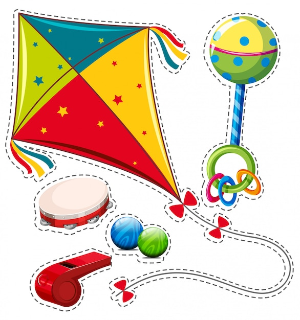 Different types of toys Free Vector