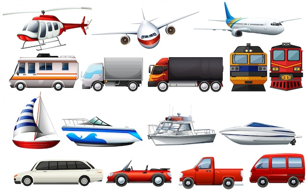 Different types of transportations Premium Vector